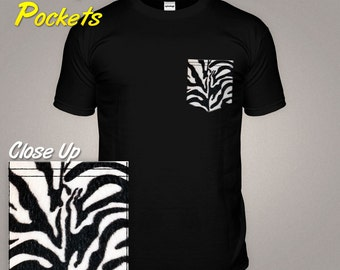 Zebra Print T-shirt With a Pattern Pocket Tshirt Animal Skin Top Natural Fur Top Fashion Design Trendy Clothing