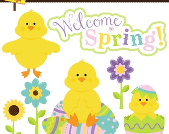 Easter Chicks Clipart - Easter Clip Art - Spring Clipart for Scrapbooking, Card Making, and Web Design
