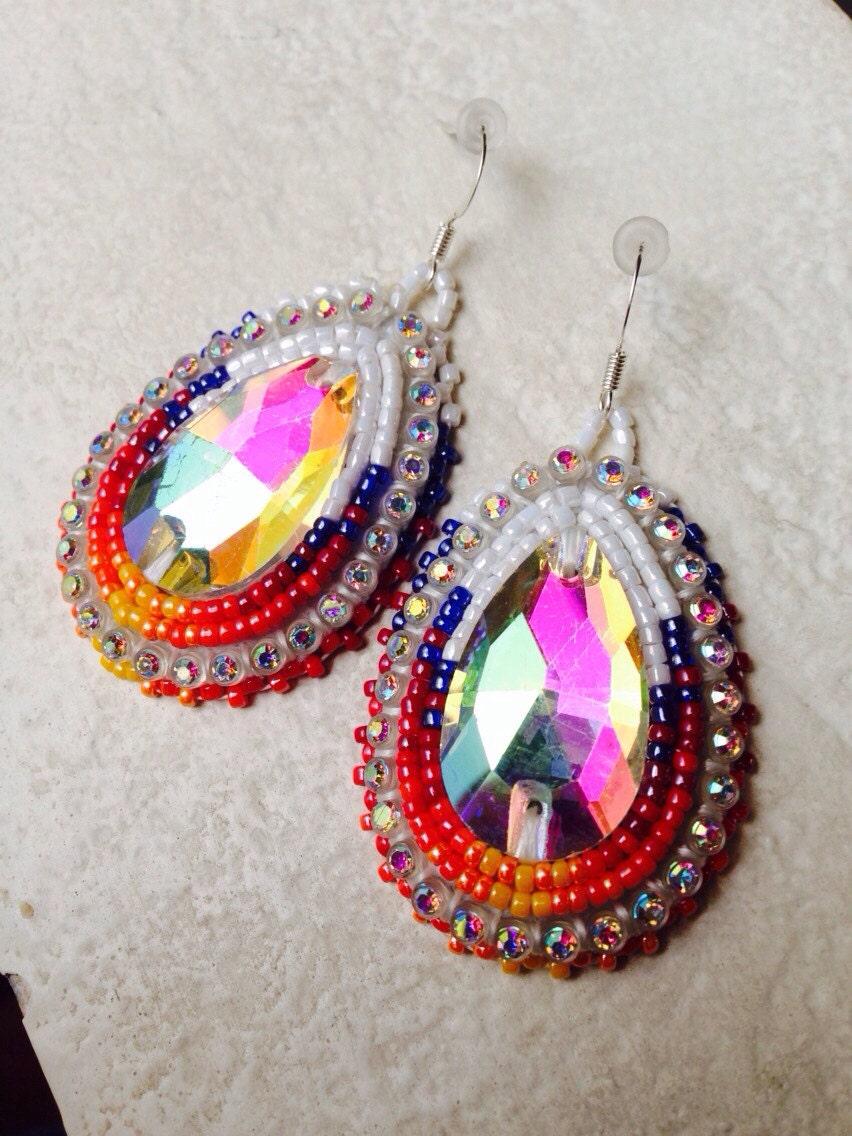 american beaded earrings teardrop set