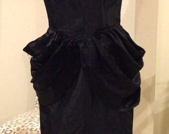 Vintage 1980's Black Wiggle Party Dress Union Brand