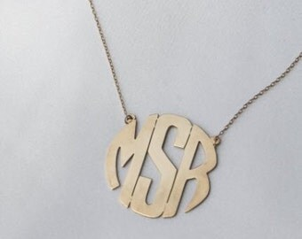 Personalized Gold Monogram Circle Necklace,