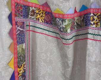 """1960s vintage quilted one of a kind gypsy shabby chic retro linen tablecloth / bedcover: 72"""" x 78"""""""