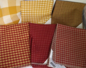 Red and Yellow plaid lot of 6 vintage upholstery fabrics for crafting Hickory Hill