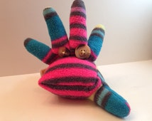 Stuffed Sock Critter; Quirky Handmade Sock Animal Made from Recycled Materials; OOAK  (Mooglie)