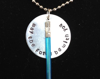 Star Wars Inspired Hand Stamped Necklace- The Force