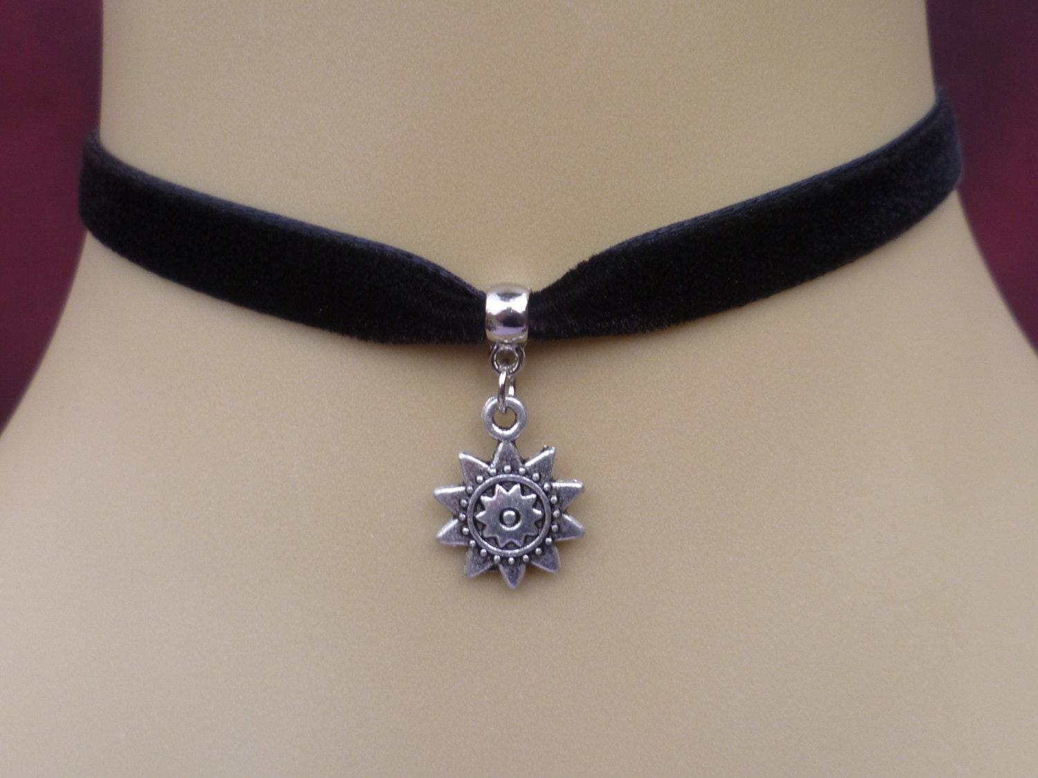 black velvet choker necklace with small sun by