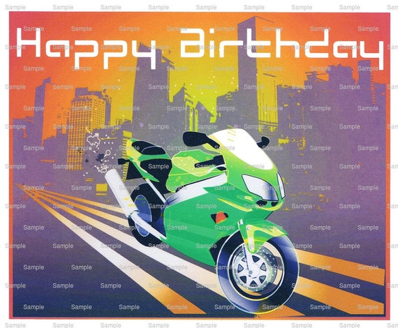 Motorcycle Birthday - Edible Cake and Cupcake Topper For Birthday's and Parties! - D2175