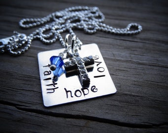 Hand Stamped Faith Hope Love Necklace Sterling Silver