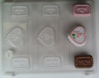 Rectangular & heart- shaped mints w/ To Love, To Honor, To Cherish W032 Chocolate Candy Mold
