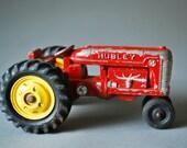Vintage Hubley Toy Tractor -- Red Farm Tractor -- Die Cast Pressed Steel Kiddie Tractor -- Children's Vintage Toys, 1950s