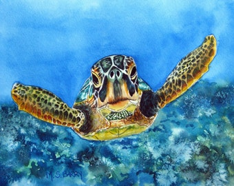 Watercolor print of a baby turtle on a sea bed.
