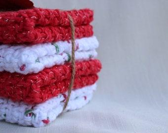 Crochet Dishcloths, Cotton Crocheted Dishcloths, Red Dishcloths, White Dishcloths, Gifts Under 20.00,