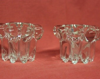 Pair of vintage crystal votive/tealight candle holders, item #1202