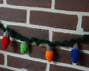 Christmas garland, 8-foot long, Christmas lights, crocheted
