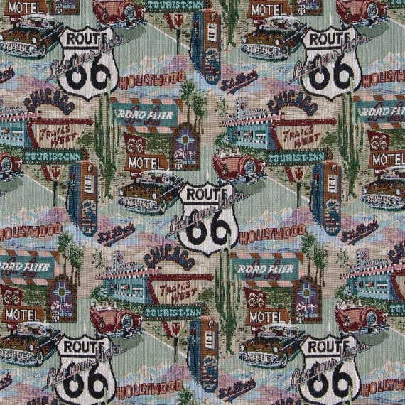 Classic Route 66, Motels, Diners, and Gas Pumps, Themed Tapestry ... : route 66 quilt pattern - Adamdwight.com