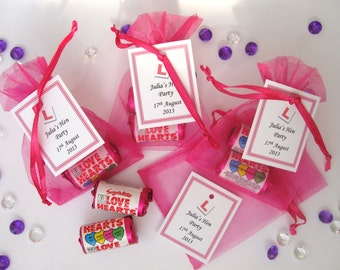 Personalised Hen Party Favours - Love Heart Sweets in Organze Bags
