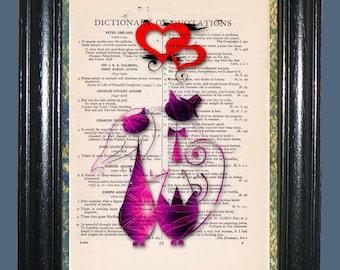 Mr. & Mrs. Pink Cats with Dual Red Hearts - Vintage Dictionary Page Art Print Upcycled Book Page Art Collage Art Cat Print
