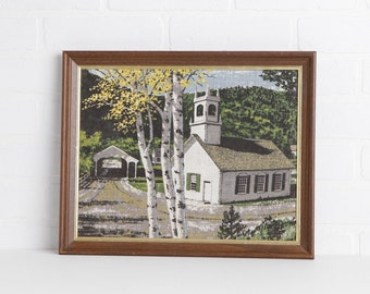 Vintage White Church, Covered Bridge, and Birch Tree Painting in Wooden Frame
