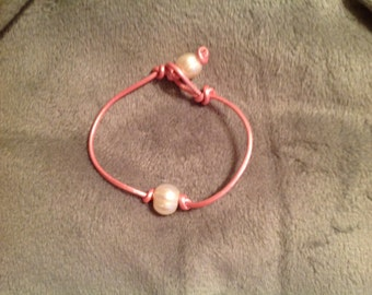 Leather and pearl bracelet for Breast Cancer Awareness. This piece is called 'APRIL in PINK'