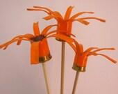 Shotgun Shell Orange Flowers Set of 3