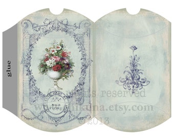VINTAGE  FRENCH  FLOWERs - Printable Pillow Box - Digital Image Sheet Download Box - Print and Cut