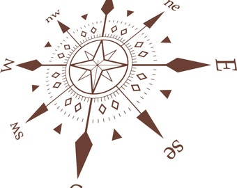 Compass Wall Decal Etsy - Wall decals hd