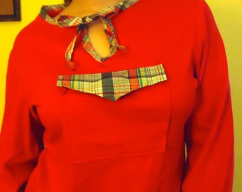 70's Red T-Shirt Tee Long Sleeves Pull Over Pocket and Plaid Detailing M L