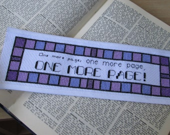 Cross Stitch Pattern - One More Page - Bookmark (for download)