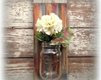Coats of Many Colors - Distressed Rustic Mason Ball Jar Reclaimed Wood Wall Sconce
