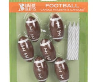 1 set of Football Candles Birthday Cake tournament supplies Party favors cake topper