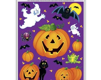 1 - Pumpkin Patch Clings Halloween party supplies decorations mummy ghost bats pumpkins witch vinyl clings