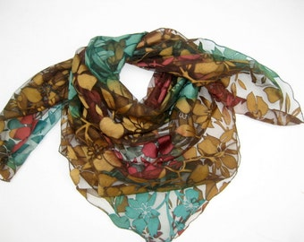 Multicolored,floral, large scarf in net fabric.Free shipping.