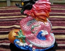 Handmade FENG SHUI Ceramic Dragon Hand Painted PINK small gemstone cabochon in mouth, 10cm x 8cm and available in the 9 Colours of the Bagua