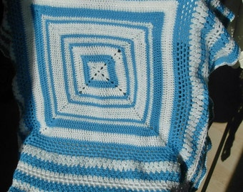 "Crochet Baby Blanket,  DK, 38"" x 38"", in Bright Blue, Random Blue & White Fleck and White Sparkle, Beautifully Soft"