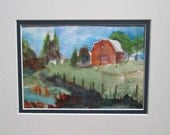"Red barn painting watercolor original ""Memories of the family farm and wading along the cool, clean creek in the evening"" farm painting -"