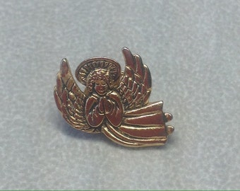 Vintage Ballou Reg'd Gold Praying Angel Tac Back Pin Brooch Jewelry