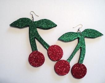 Cherry Earrings And Cherry Necklace set, Cherry Jewelry,  Big cherry earrings, Cherry Fashion jewelry, Glitter Cherrys, Cherrys.