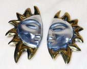 Mexican Silver Earrings Sterling Sun Vintage Clip Back Large and Dramatic 23.8 Grams