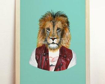 Lion Art Print - Giclee Poster Wall Art Draw Original Painting - A4 - 8.3 x 11.7 in - 210 x 297 mm - Prints Shop