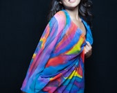 Colorful silk kimono, silk jacket, colorful silk , hand painted silk evening gown
