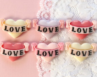 6 Pcs Tattoo Love Heart Cabochons - 25x15mm