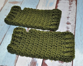 Fingerless Gloves - Green - Crochet