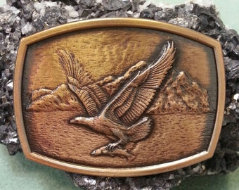 Vintage Die Cast Buckle Eagle with Fish