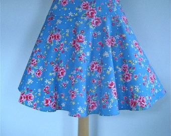 SALE Short Circular Skirt in Garden Party fabric in Vintage Blue, from Bird of Paradise Clothing. NOW 40% OFF