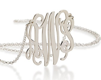 Silver Monogram Necklace 1.5 Inch - Sterling Silver - Bridesmaid Gifts