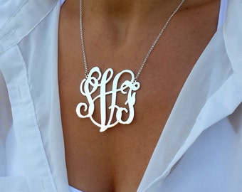 Statement Monogram Necklace 2 Inch XXL - Sterling Silver - Statement - Monogram Necklace