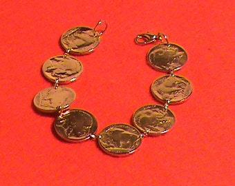 US Indiam head nickel Bracelet 24 kt Gold Plated