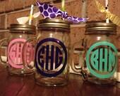 Glass Circle Monogram Mason Jars With Handle Free Paper Straw