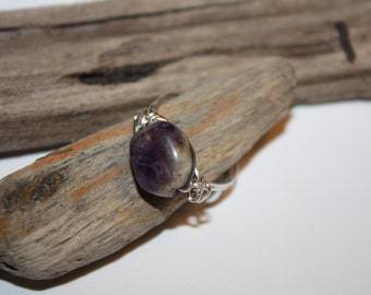 Ring, Sterling Amethyst Stone  Ring, Wire Wrap Ring