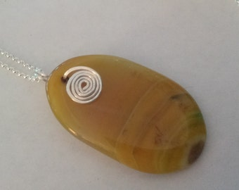 Yellow Onyx Agate  Pendant Necklace with Sterling Silver Chain and Sterling Silver Lobster Claw Clasp